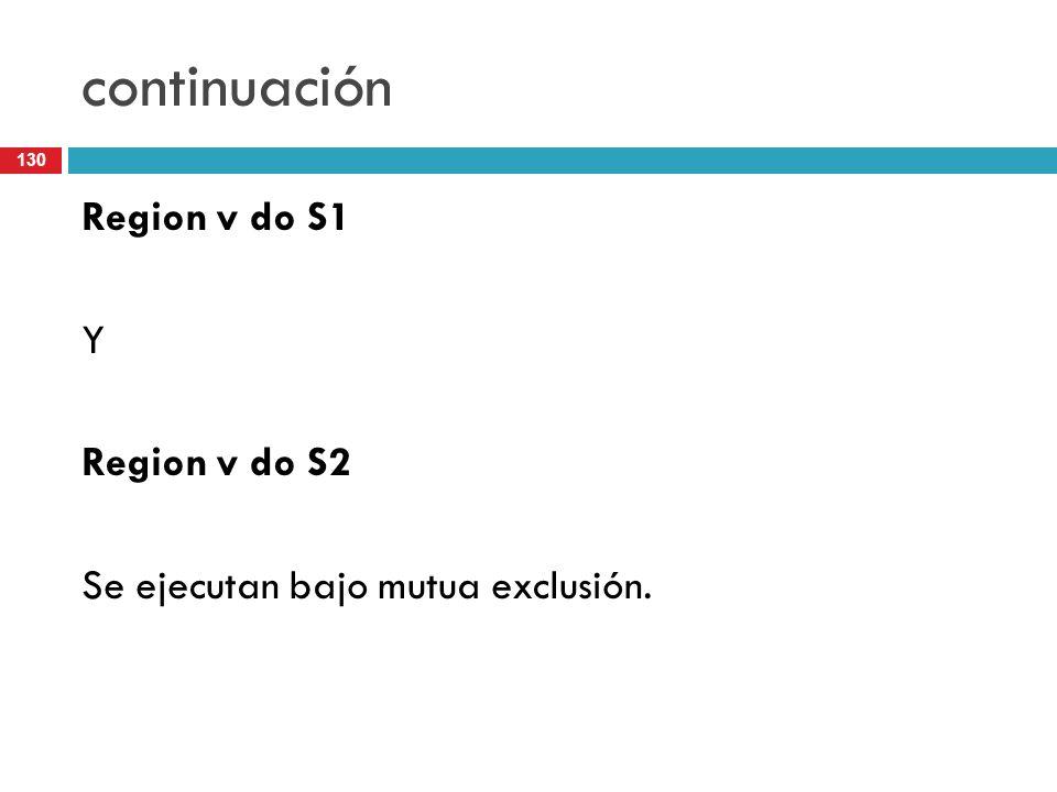 130 continuación Region v do S1 Y Region v do S2 Se ejecutan bajo mutua exclusión.