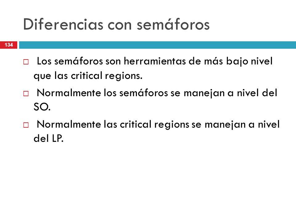 134 Diferencias con semáforos Los semáforos son herramientas de más bajo nivel que las critical regions. Normalmente los semáforos se manejan a nivel