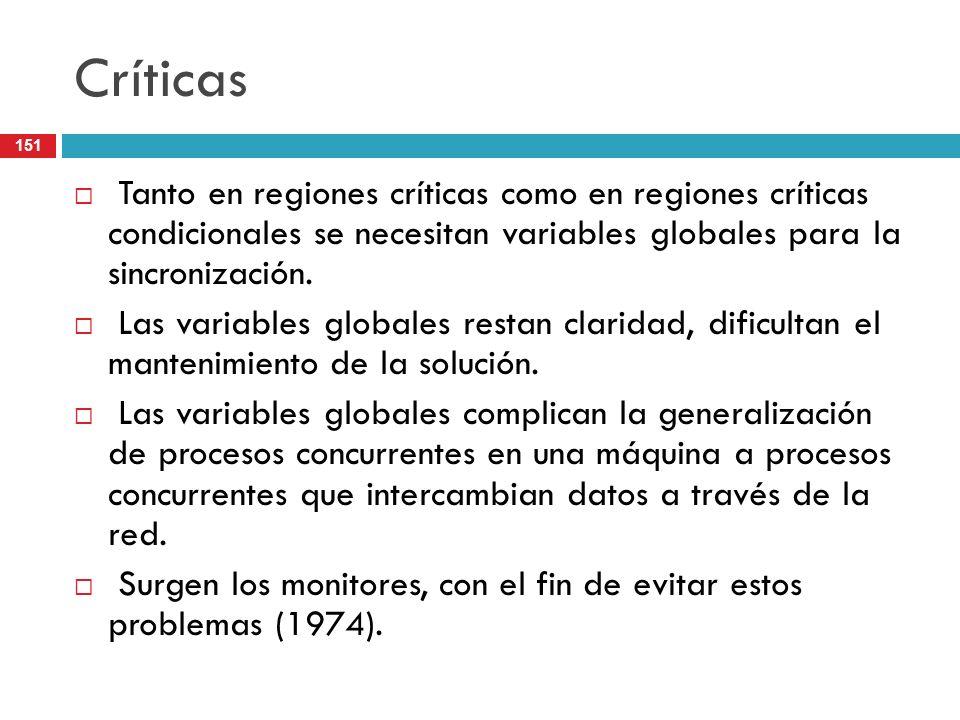 151 Críticas Tanto en regiones críticas como en regiones críticas condicionales se necesitan variables globales para la sincronización. Las variables