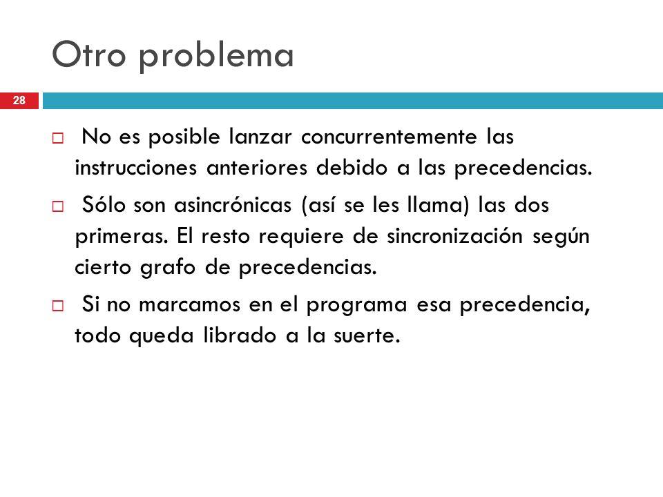 28 Otro problema No es posible lanzar concurrentemente las instrucciones anteriores debido a las precedencias. Sólo son asincrónicas (así se les llama