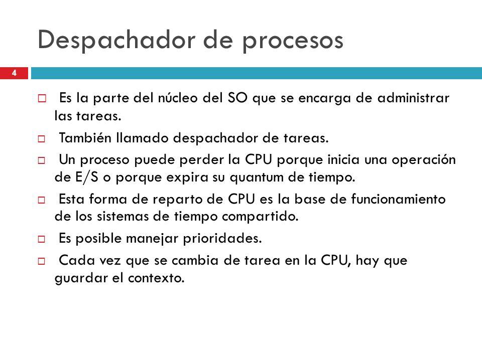 4 Despachador de procesos Es la parte del núcleo del SO que se encarga de administrar las tareas. También llamado despachador de tareas. Un proceso pu