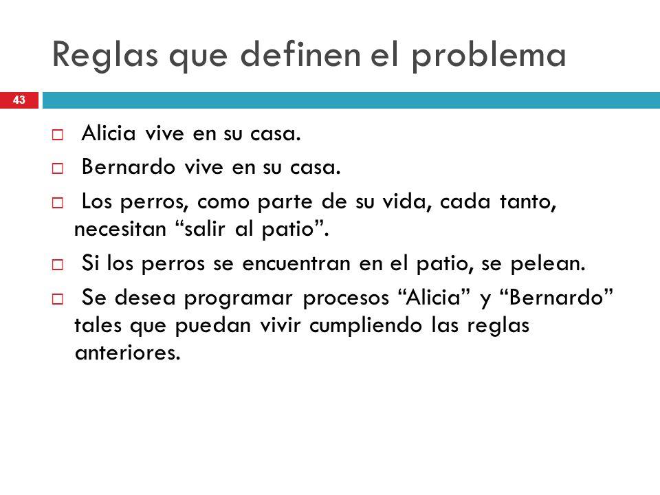 43 Reglas que definen el problema Alicia vive en su casa. Bernardo vive en su casa. Los perros, como parte de su vida, cada tanto, necesitan salir al