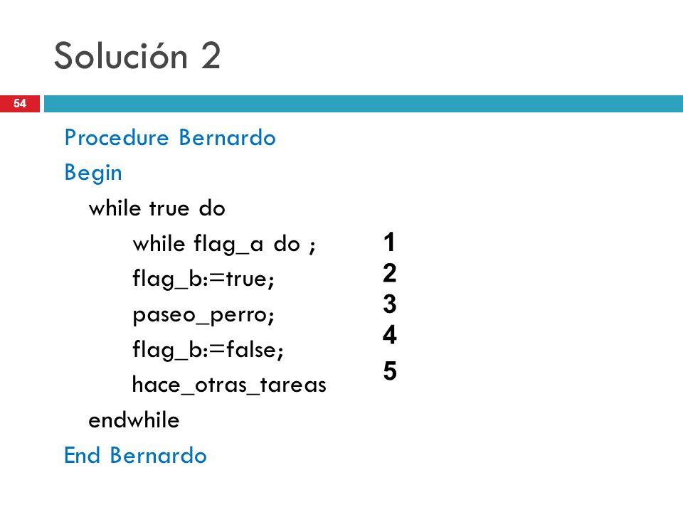 54 Solución 2 Procedure Bernardo Begin while true do while flag_a do ; flag_b:=true; paseo_perro; flag_b:=false; hace_otras_tareas endwhile End Bernar