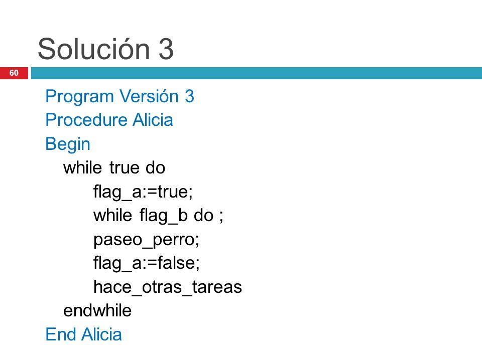 60 Solución 3 Program Versión 3 Procedure Alicia Begin while true do flag_a:=true; while flag_b do ; paseo_perro; flag_a:=false; hace_otras_tareas end