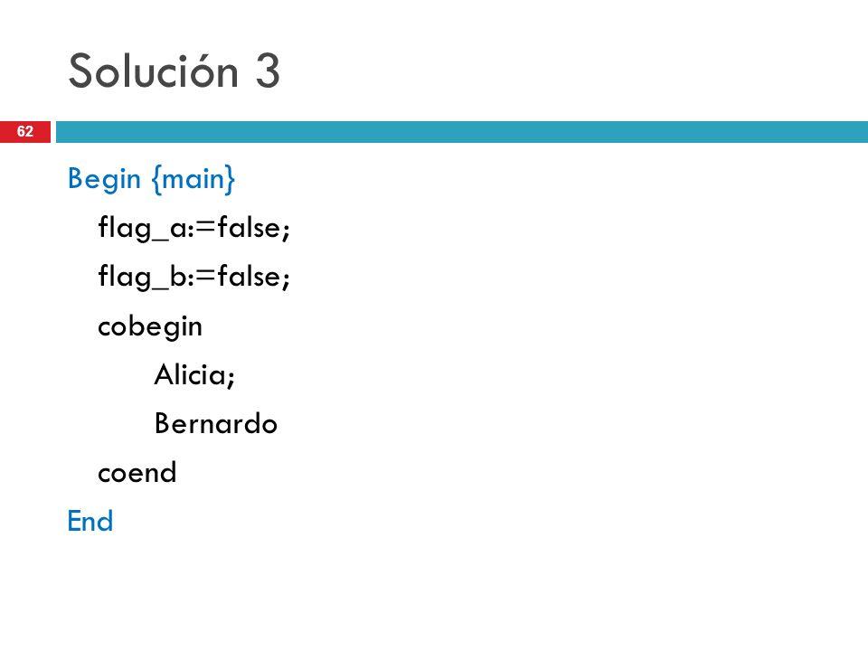 62 Solución 3 Begin {main} flag_a:=false; flag_b:=false; cobegin Alicia; Bernardo coend End
