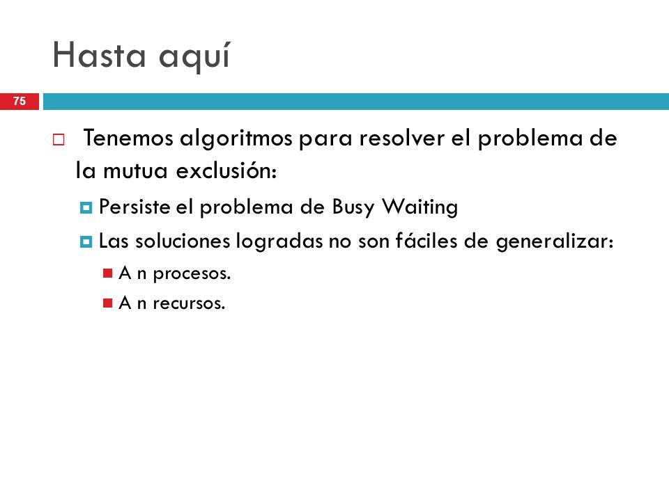 75 Hasta aquí Tenemos algoritmos para resolver el problema de la mutua exclusión: Persiste el problema de Busy Waiting Las soluciones logradas no son