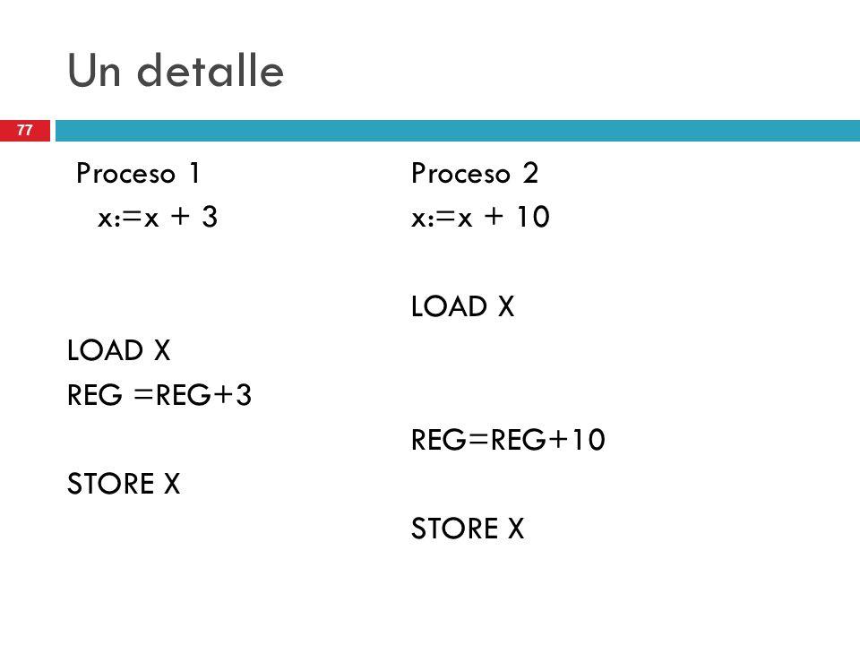 77 Un detalle Proceso 1Proceso 2 x:=x + 3x:=x + 10 LOAD X REG =REG+3 REG=REG+10 STORE X