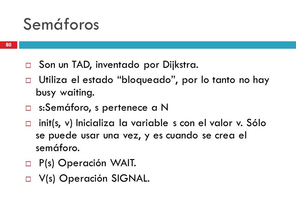 80 Semáforos Son un TAD, inventado por Dijkstra. Utiliza el estado bloqueado, por lo tanto no hay busy waiting. s:Semáforo, s pertenece a N init(s, v)