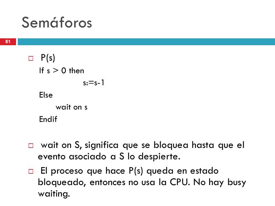 81 Semáforos P(s) If s > 0 then s:=s-1 Else wait on s Endif wait on S, significa que se bloquea hasta que el evento asociado a S lo despierte. El proc