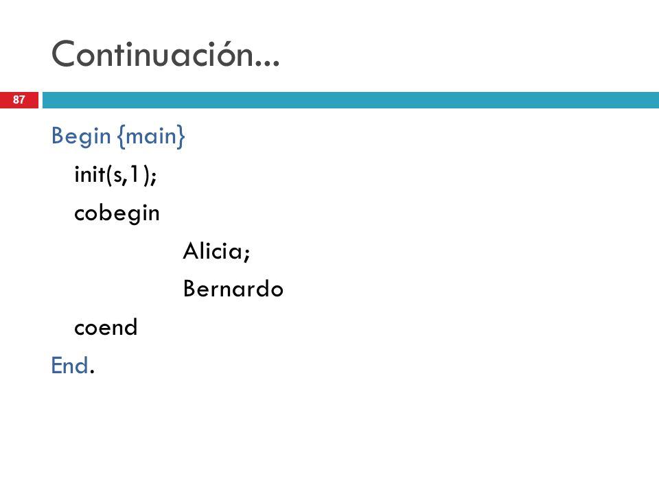 87 Continuación... Begin {main} init(s,1); cobegin Alicia; Bernardo coend End.