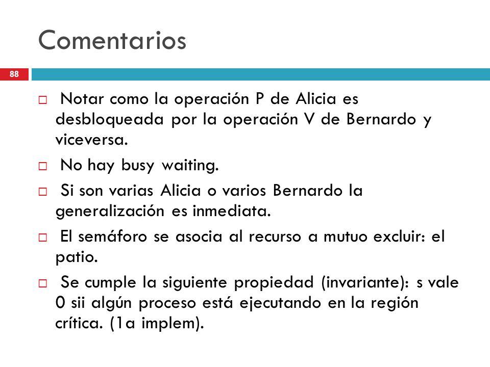 88 Comentarios Notar como la operación P de Alicia es desbloqueada por la operación V de Bernardo y viceversa. No hay busy waiting. Si son varias Alic