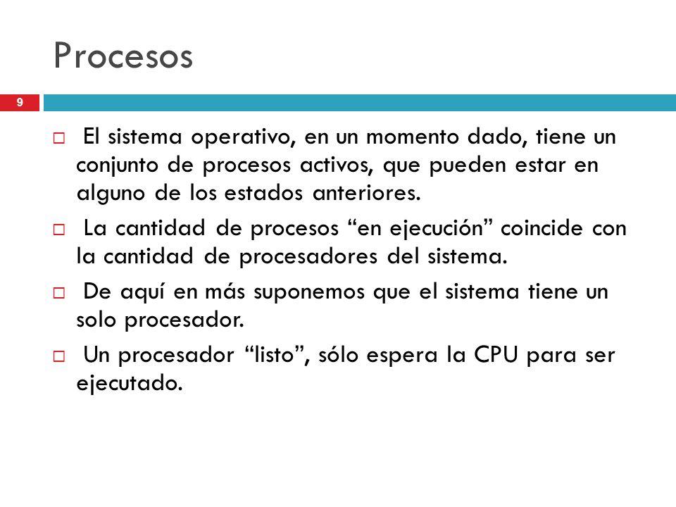 9 Procesos El sistema operativo, en un momento dado, tiene un conjunto de procesos activos, que pueden estar en alguno de los estados anteriores. La c