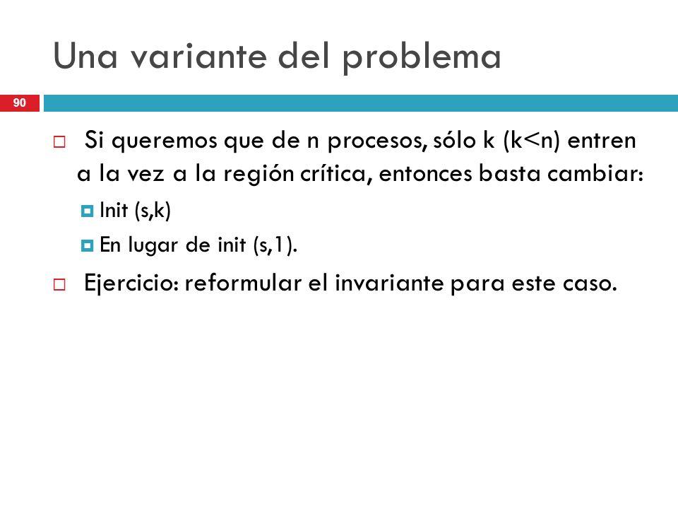90 Una variante del problema Si queremos que de n procesos, sólo k (k<n) entren a la vez a la región crítica, entonces basta cambiar: Init (s,k) En lu