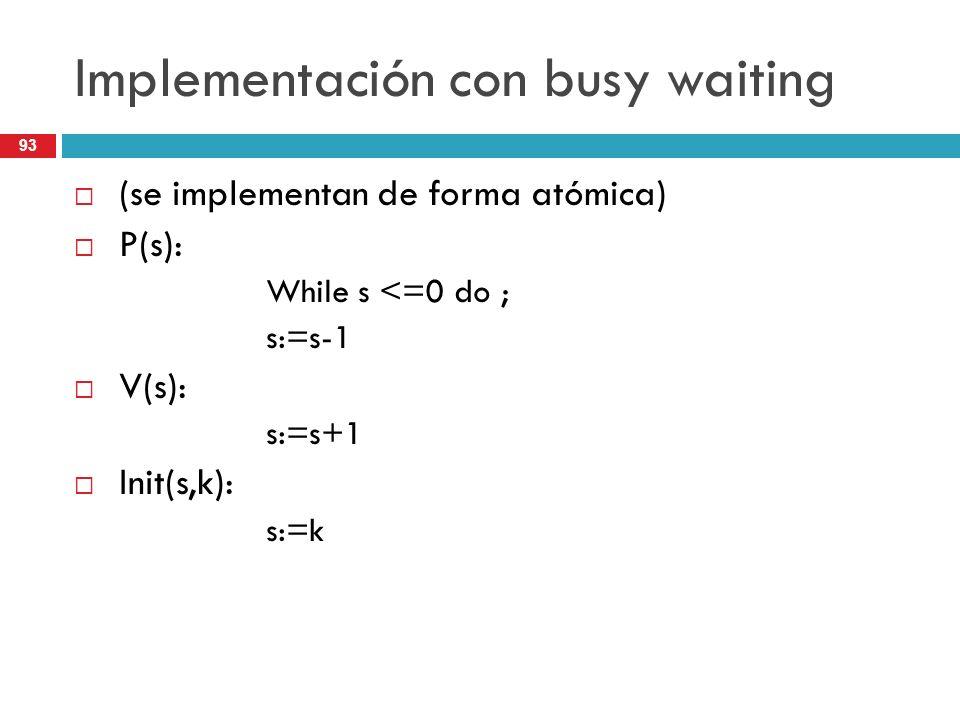93 Implementación con busy waiting (se implementan de forma atómica) P(s): While s <=0 do ; s:=s-1 V(s): s:=s+1 Init(s,k): s:=k