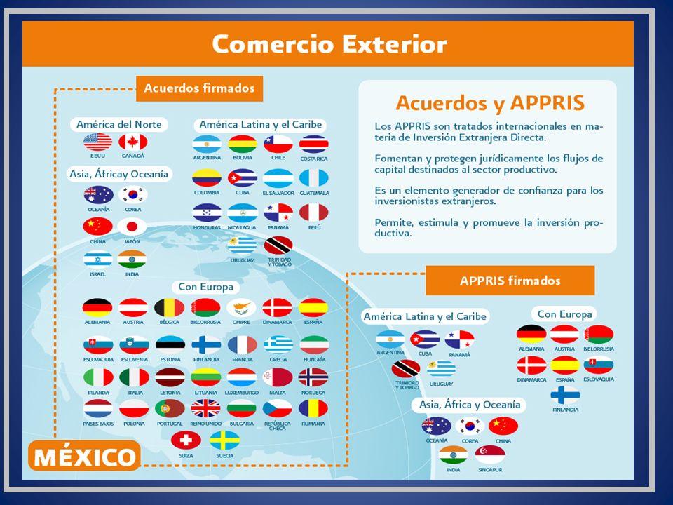 Las relaciones comerciales que mantiene México con el resto del mundo y la apertura comercial que ha logrado a través de la firma de 12 tratados comerciales, han permitido que los productos mexicanos en el extranjero tengan una presencia significativa y creciente en el comercio mundial.