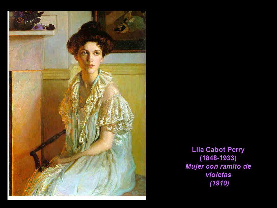 Lila Cabot Perry (1848-1933) Mujer con ramito de violetas (1910)