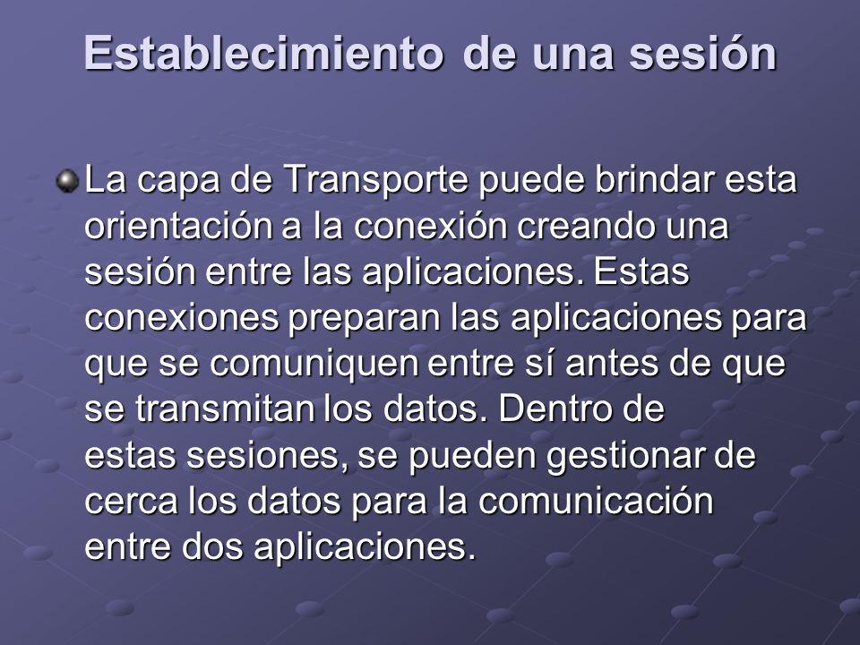 Establecimiento de una sesión La capa de Transporte puede brindar esta orientación a la conexión creando una sesión entre las aplicaciones. Estas cone