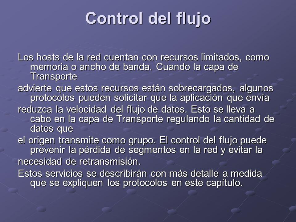 Control del flujo Los hosts de la red cuentan con recursos limitados, como memoria o ancho de banda. Cuando la capa de Transporte advierte que estos r