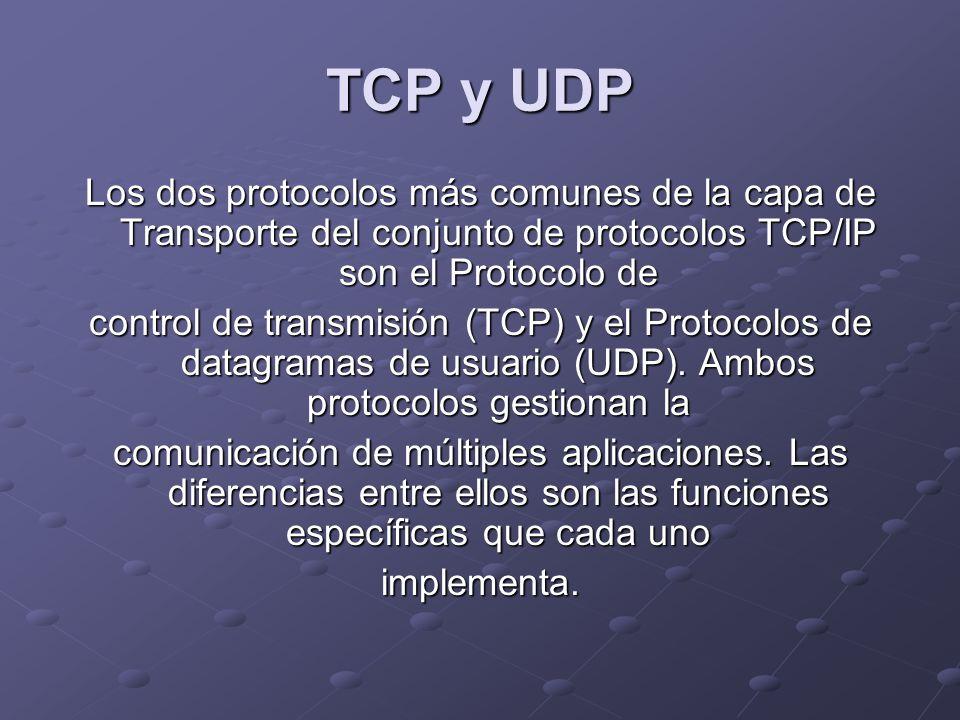 TCP y UDP Los dos protocolos más comunes de la capa de Transporte del conjunto de protocolos TCP/IP son el Protocolo de control de transmisión (TCP) y