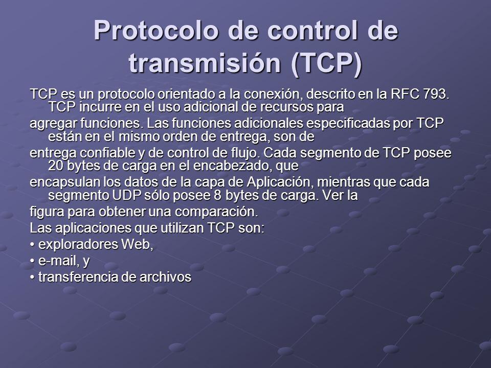 Protocolo de control de transmisión (TCP) TCP es un protocolo orientado a la conexión, descrito en la RFC 793. TCP incurre en el uso adicional de recu
