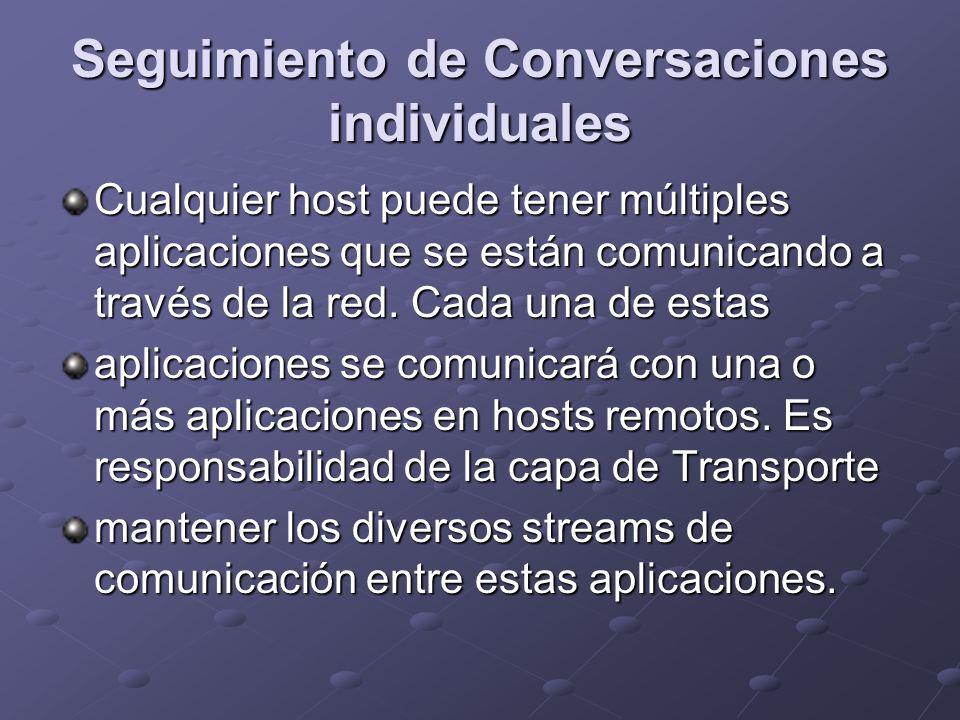 Seguimiento de Conversaciones individuales Cualquier host puede tener múltiples aplicaciones que se están comunicando a través de la red. Cada una de