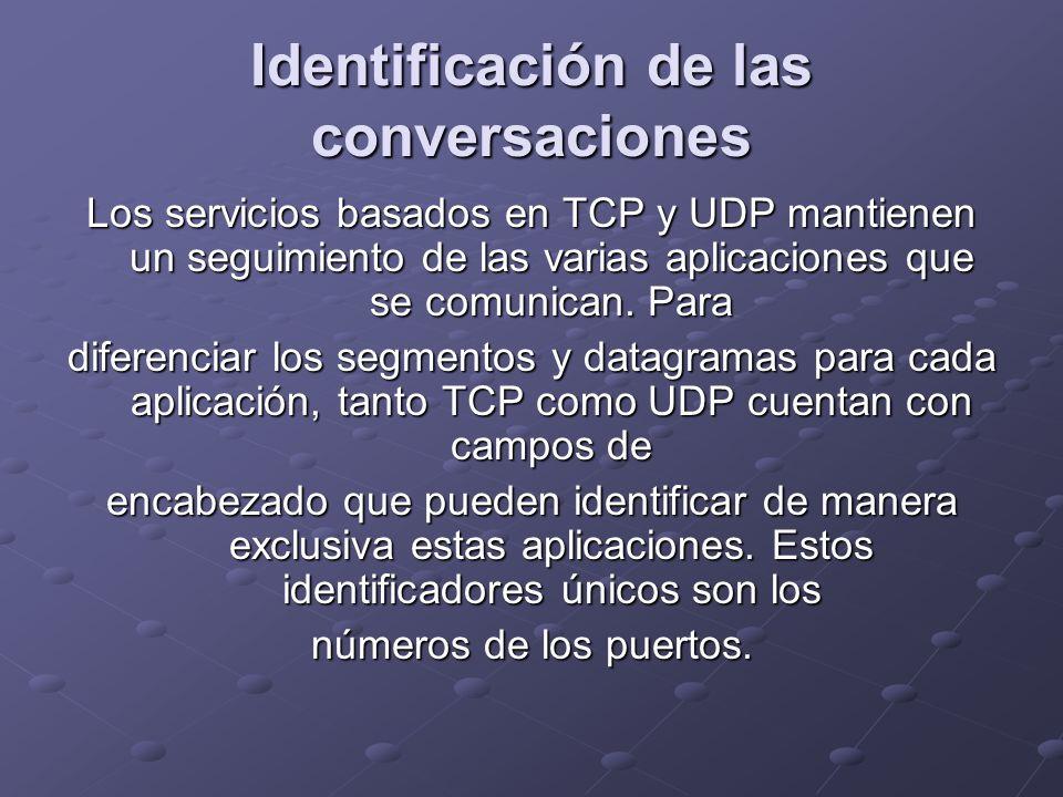 Identificación de las conversaciones Los servicios basados en TCP y UDP mantienen un seguimiento de las varias aplicaciones que se comunican. Para dif