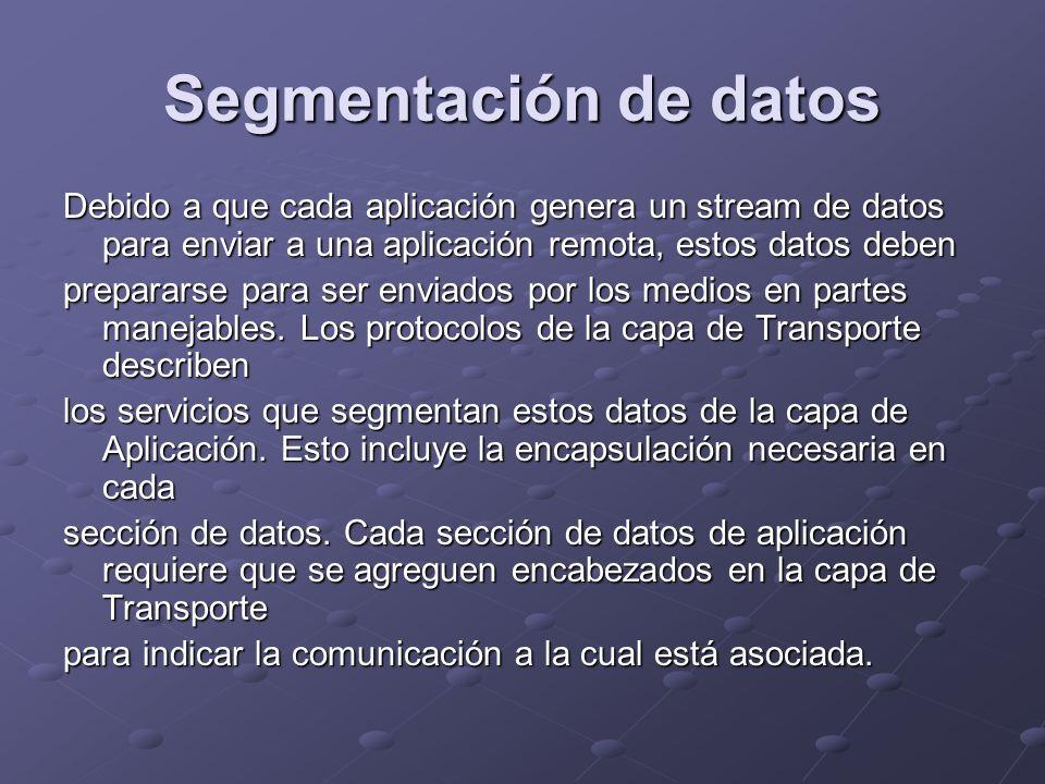 Segmentación de datos Debido a que cada aplicación genera un stream de datos para enviar a una aplicación remota, estos datos deben prepararse para se