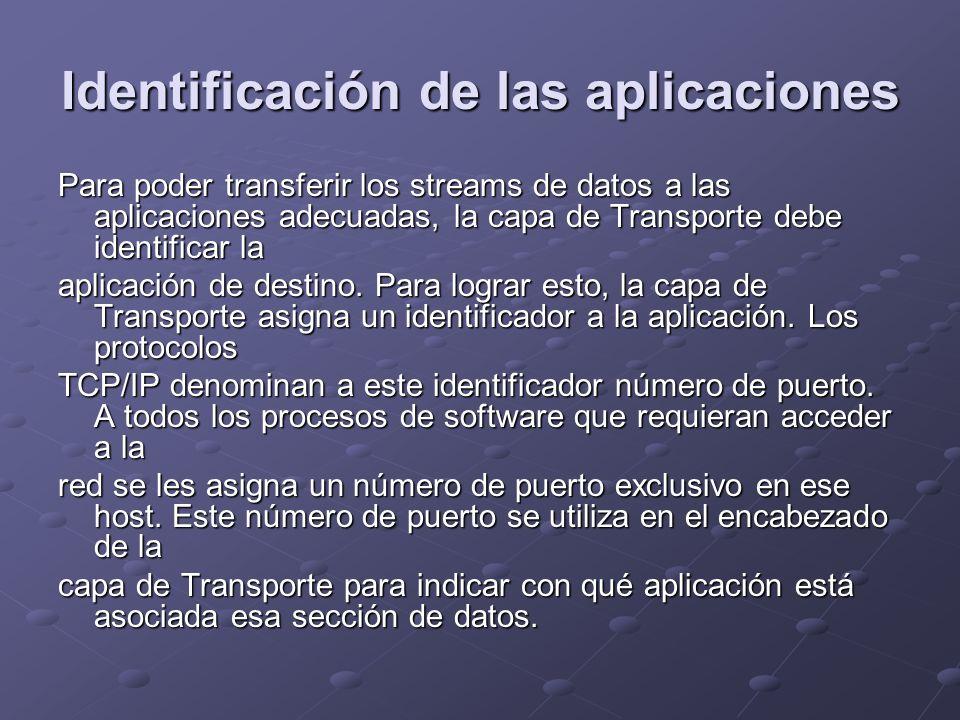 Identificación de las aplicaciones Para poder transferir los streams de datos a las aplicaciones adecuadas, la capa de Transporte debe identificar la