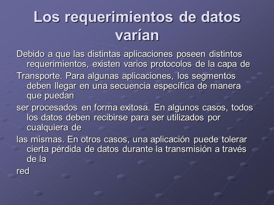 Los requerimientos de datos varían Debido a que las distintas aplicaciones poseen distintos requerimientos, existen varios protocolos de la capa de Tr