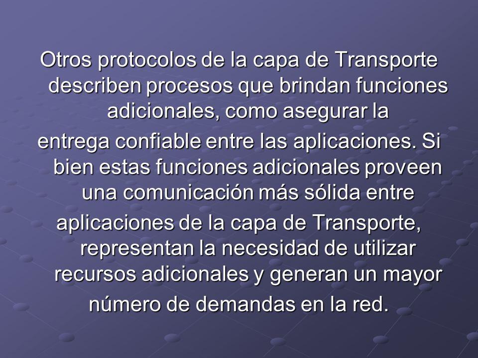 Otros protocolos de la capa de Transporte describen procesos que brindan funciones adicionales, como asegurar la entrega confiable entre las aplicacio