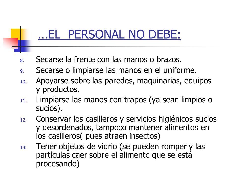 …EL PERSONAL NO DEBE: 8. Secarse la frente con las manos o brazos. 9. Secarse o limpiarse las manos en el uniforme. 10. Apoyarse sobre las paredes, ma
