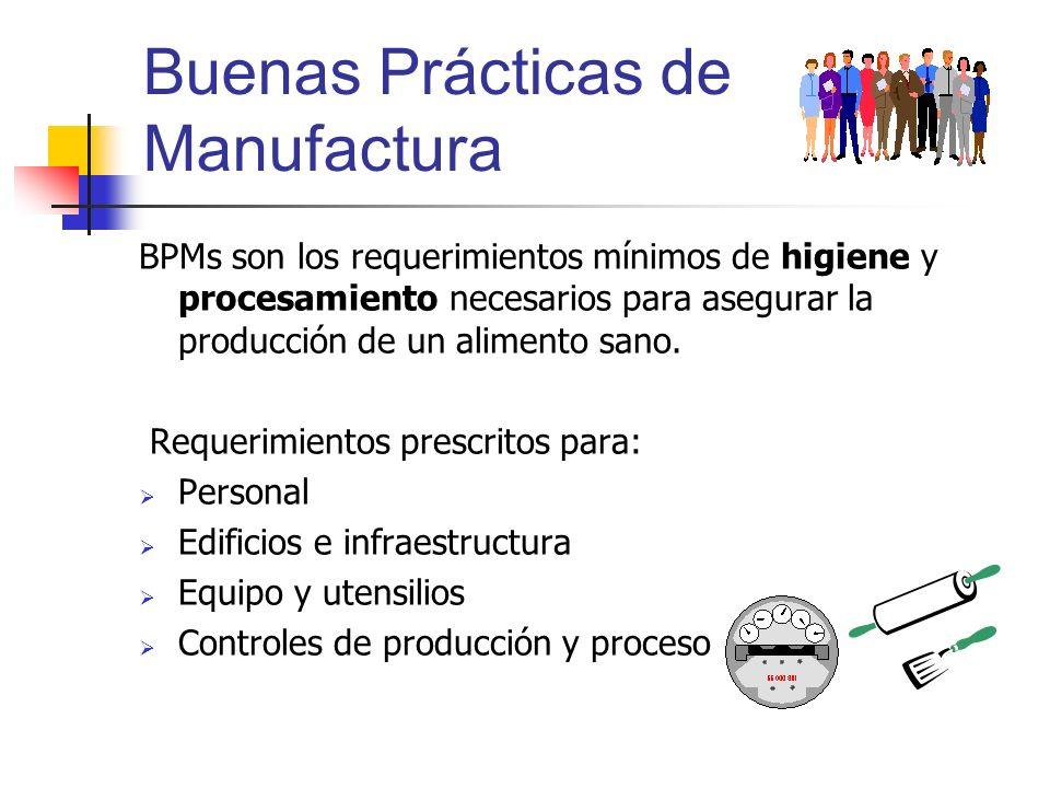 Buenas Prácticas de Manufactura BPMs son los requerimientos mínimos de higiene y procesamiento necesarios para asegurar la producción de un alimento s