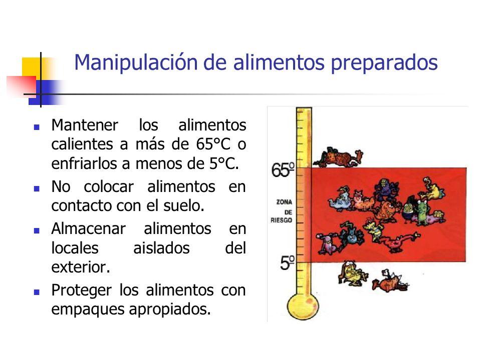 Manipulación de alimentos preparados Mantener los alimentos calientes a más de 65°C o enfriarlos a menos de 5°C. No colocar alimentos en contacto con