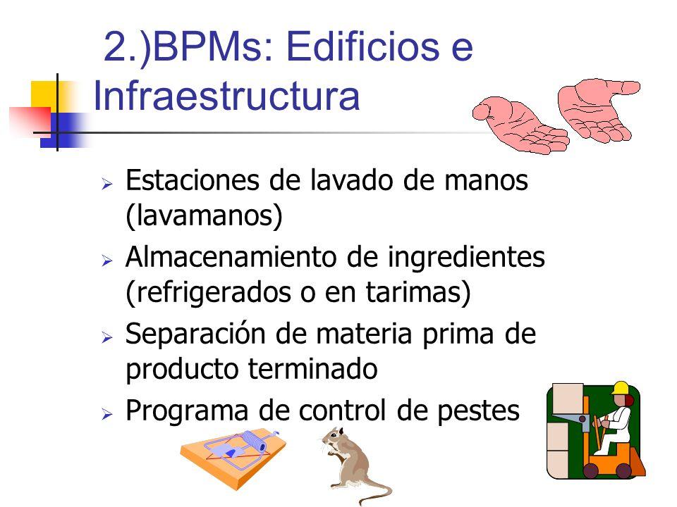 2.)BPMs: Edificios e Infraestructura Estaciones de lavado de manos (lavamanos) Almacenamiento de ingredientes (refrigerados o en tarimas) Separación d
