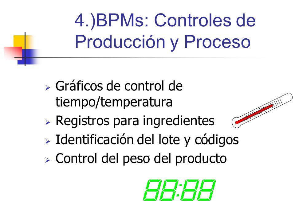 4.)BPMs: Controles de Producción y Proceso Gráficos de control de tiempo/temperatura Registros para ingredientes Identificación del lote y códigos Con