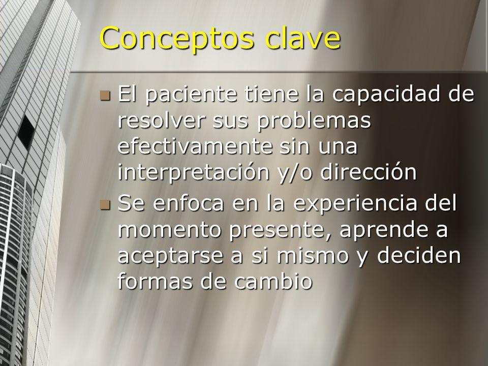Conceptos clave El paciente tiene la capacidad de resolver sus problemas efectivamente sin una interpretación y/o dirección El paciente tiene la capac