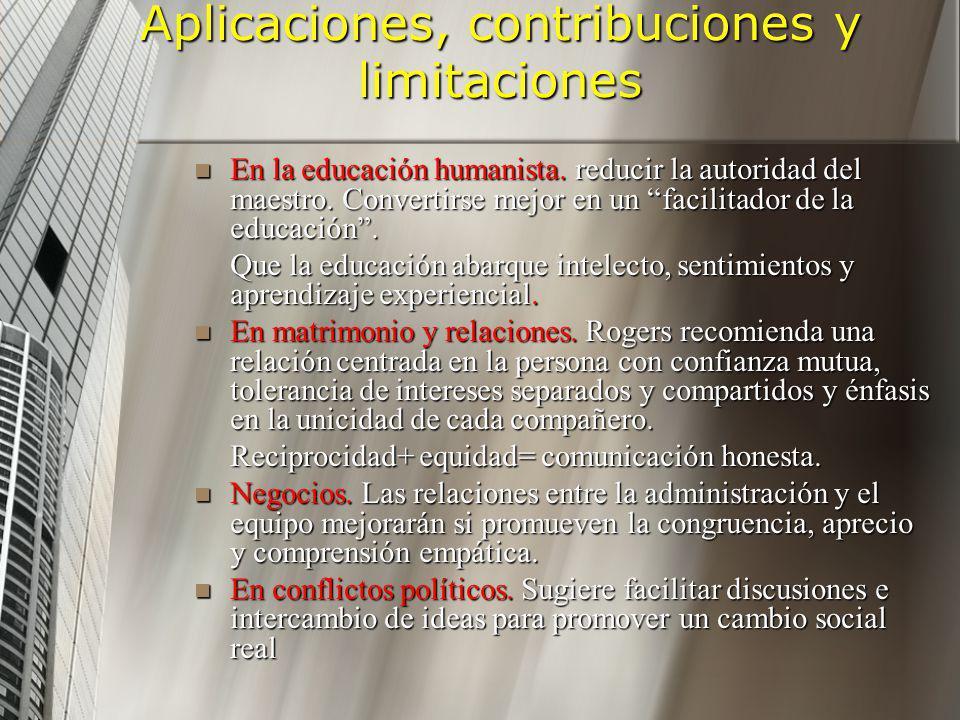 Aplicaciones, contribuciones y limitaciones En la educación humanista. reducir la autoridad del maestro. Convertirse mejor en un facilitador de la edu