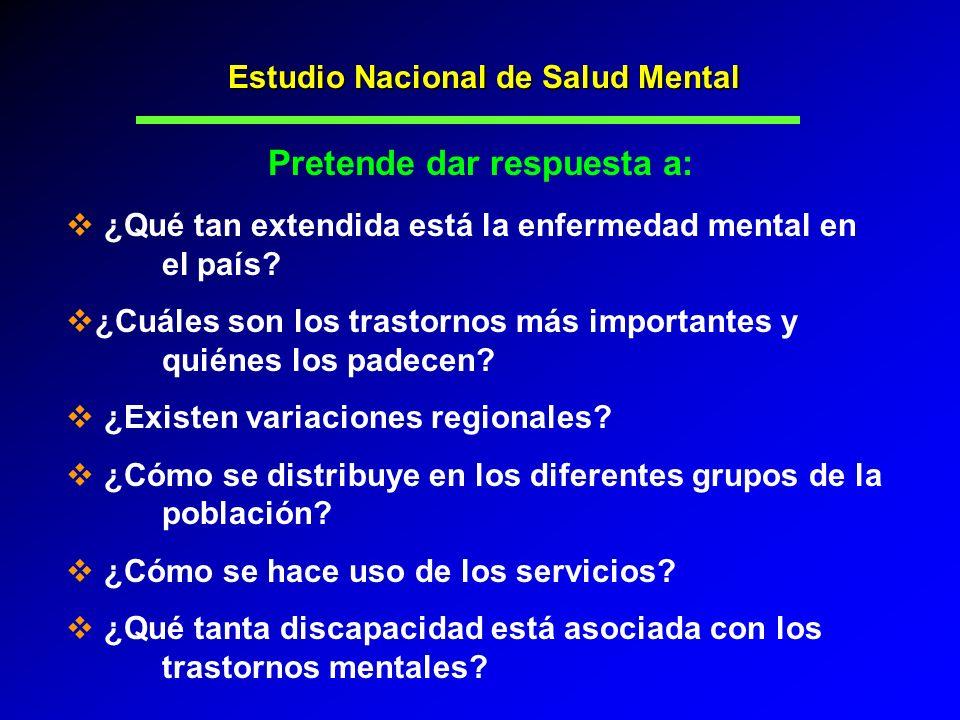 ¿Qué tan extendida está la enfermedad mental en el país? ¿Cuáles son los trastornos más importantes y quiénes los padecen? ¿Existen variaciones region