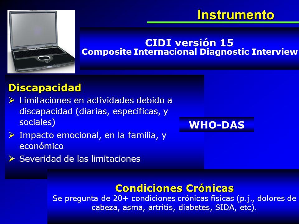 Instrumento CIDI versión 15 Composite Internacional Diagnostic Interview Discapacidad Limitaciones en actividades debido a discapacidad (diarias, espe