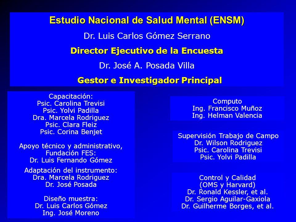 Estudio Nacional de Salud Mental (ENSM) Dr. Luis Carlos Gómez Serrano Director Ejecutivo de la Encuesta Dr. José A. Posada Villa Gestor e Investigador
