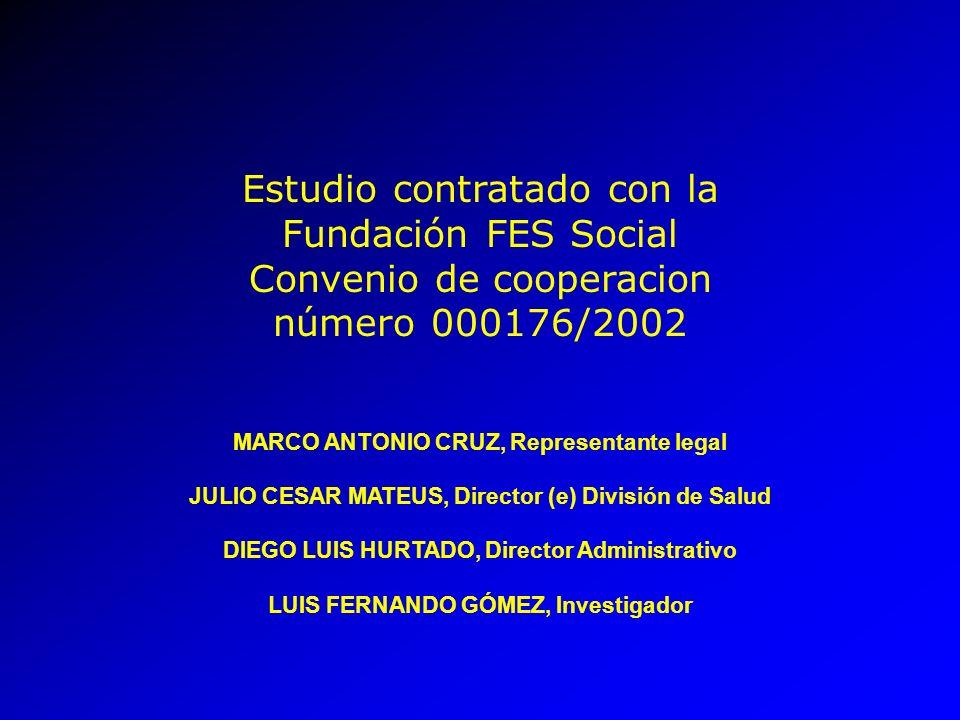 Estudio contratado con la Fundación FES Social Convenio de cooperacion número 000176/2002 MARCO ANTONIO CRUZ, Representante legal JULIO CESAR MATEUS,