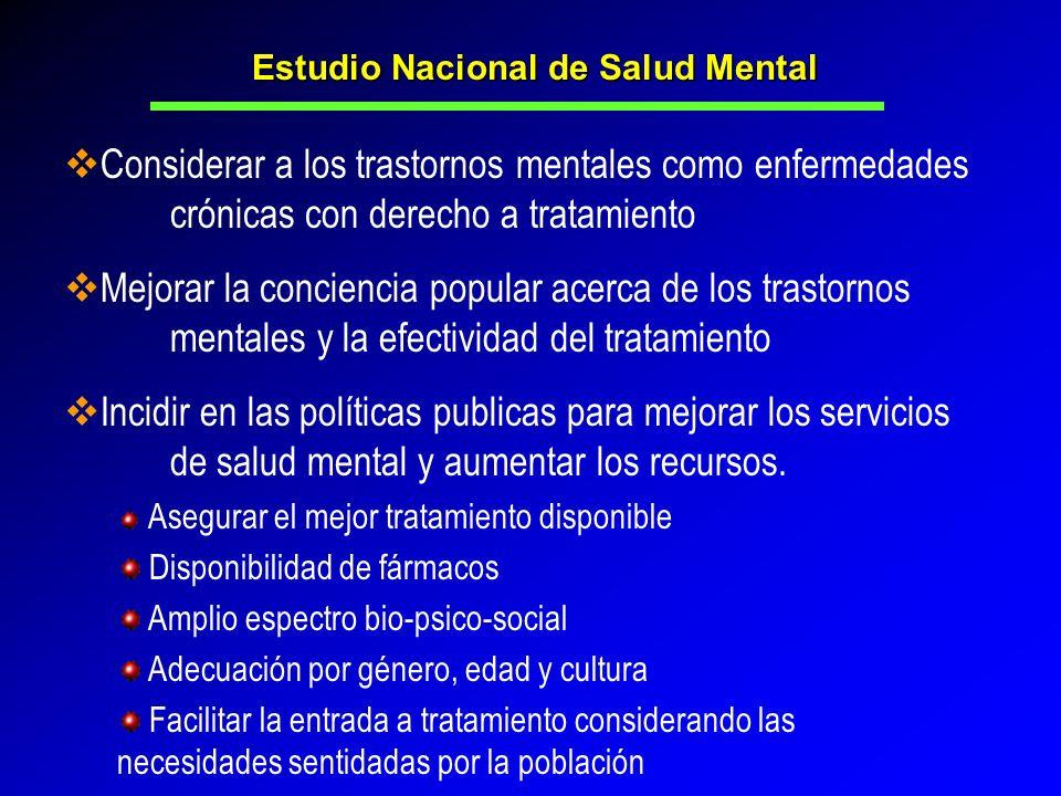Considerar a los trastornos mentales como enfermedades crónicas con derecho a tratamiento Mejorar la conciencia popular acerca de los trastornos menta