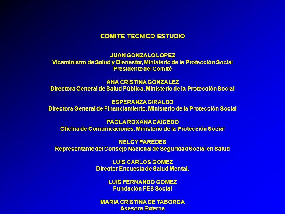 COMITE TECNICO ESTUDIO JUAN GONZALO LOPEZ Viceministro de Salud y Bienestar, Ministerio de la Protección Social Presidente del Comité ANA CRISTINA GON
