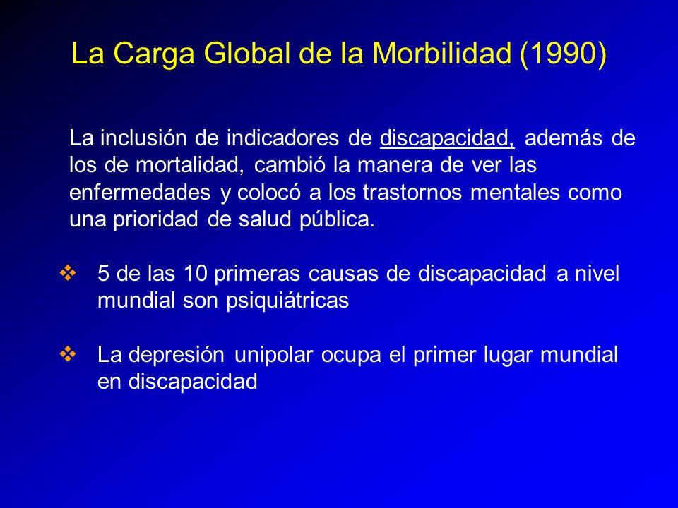 La Carga Global de la Morbilidad (1990) La inclusión de indicadores de discapacidad, además de los de mortalidad, cambió la manera de ver las enfermed