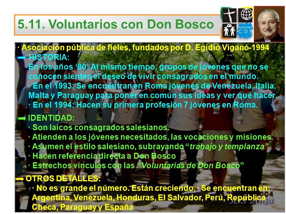 5.11. Voluntarios con Don Bosco · Asociación pública de fieles, fundados por D. Egidio Viganó-1994 HISTORIA: · En los años 80: Al mismo tiempo, grupos