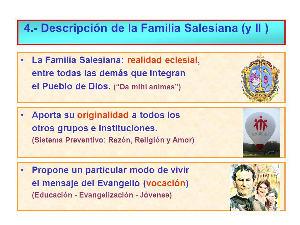 La Familia Salesiana: realidad eclesial, entre todas las demás que integran el Pueblo de Dios. (Da mihi animas) Aporta su originalidad a todos los otr