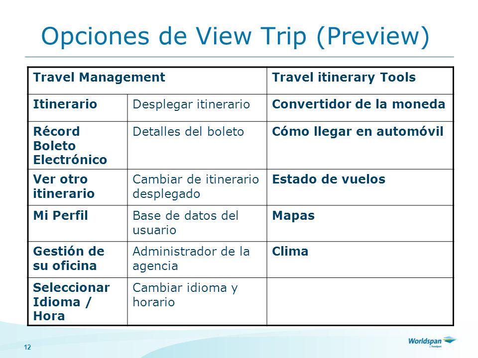 12 Travel ManagementTravel itinerary Tools ItinerarioDesplegar itinerarioConvertidor de la moneda Récord Boleto Electrónico Detalles del boletoCómo ll