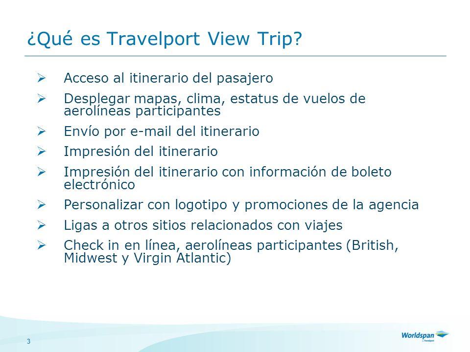 3 ¿Qué es Travelport View Trip? Acceso al itinerario del pasajero Desplegar mapas, clima, estatus de vuelos de aerolíneas participantes Envío por e-ma