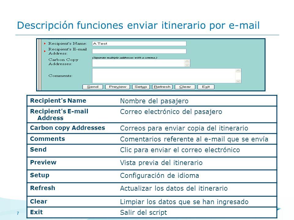 7 Descripción funciones enviar itinerario por e-mail Recipient's Name Nombre del pasajero Recipient's E-mail Address Correo electrónico del pasajero C