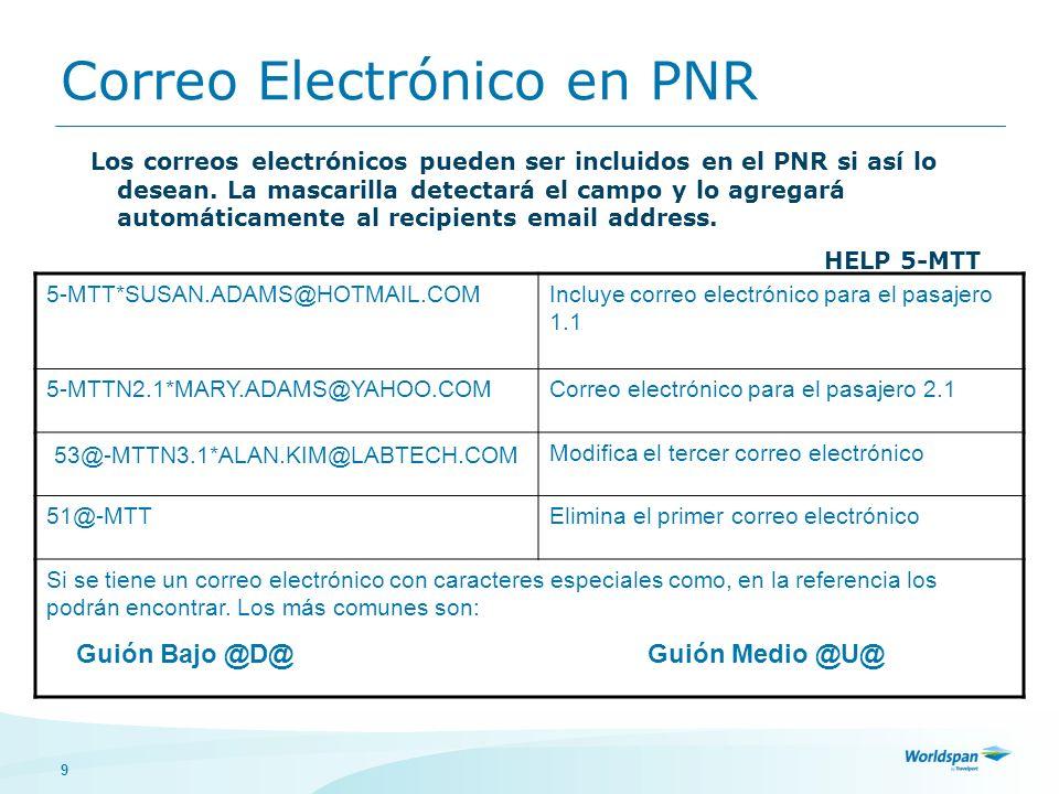 9 Correo Electrónico en PNR Los correos electrónicos pueden ser incluidos en el PNR si así lo desean. La mascarilla detectará el campo y lo agregará a